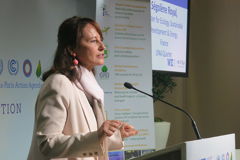 Segolene Royal, French Minister for Ecology and Sustainable Development, speaks at the event