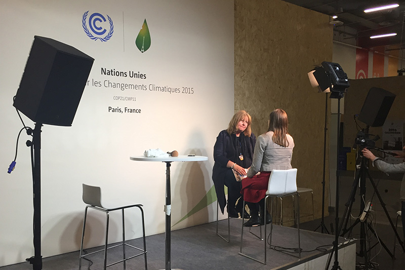 Sheila watson being interviewed at the Climate Studio