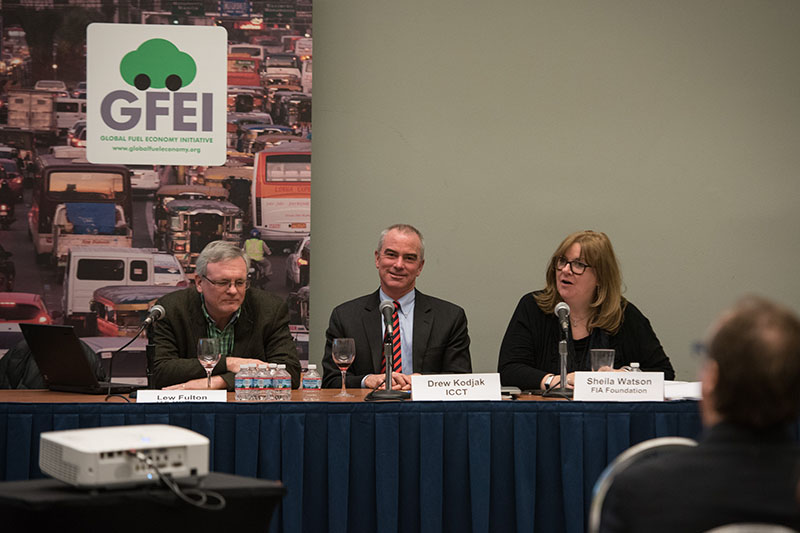 Lew Fulton, Drew Kodjak, Executive Director of ICCT and Sheila Watson, Director of Environment and Research at the FIA Foundation and Executive Secretary of GFEI