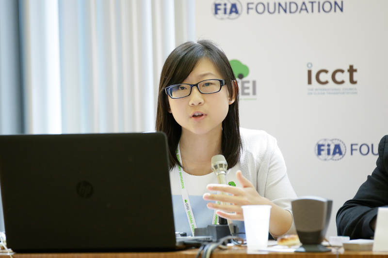 Zifei Yang, ICCT, gives a training presentation on Fuel Economy Fiscal measures.