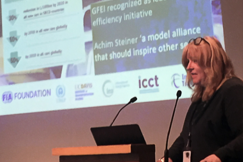 GFEI Executive Secretary Sheila Watson speaking at the global Climate Chance summit.