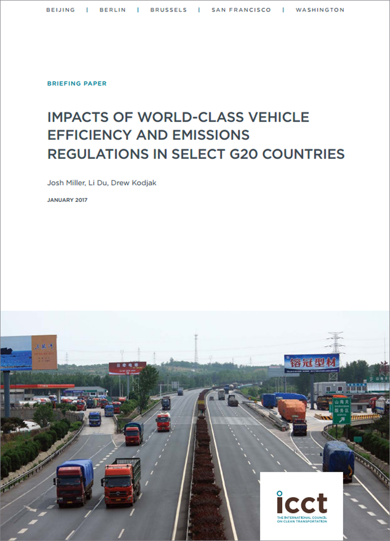 ICCT's new report: Impacts of World-Class Vehicle Efficiency and Emissions Regulations in Select G20 Countries.