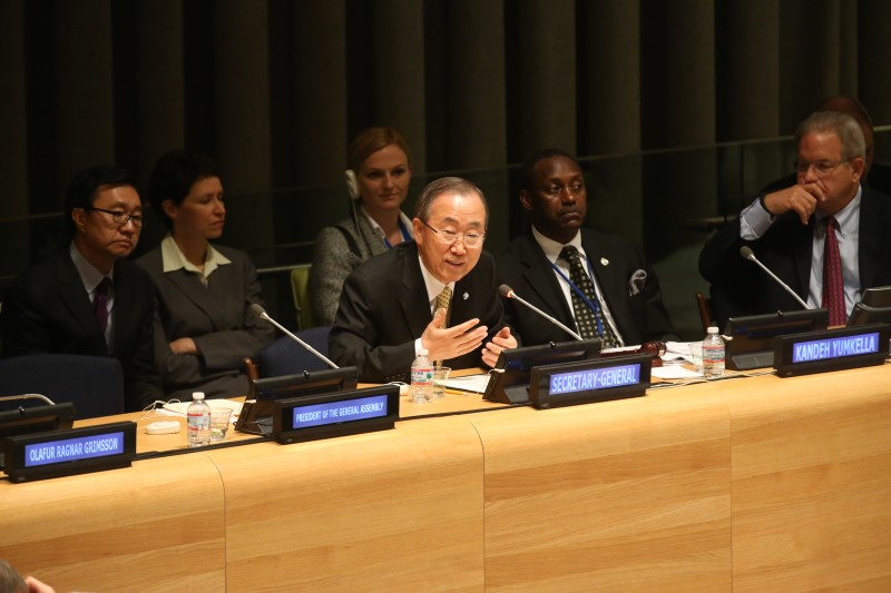 UN Secretary General Ban Ki-moon addresses the Forum