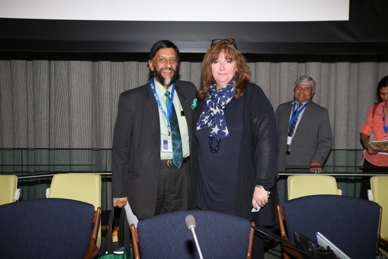 Sheila Watson and Rajendra Pachauri Chair of the IPCC who spoke at the high level Forum