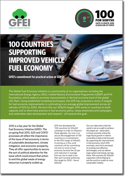 100 Countries Supporting Improved Fuel Economy