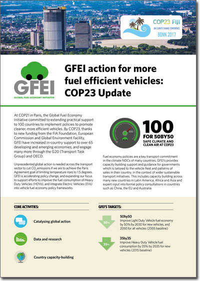 GFEI action for more fuel efficient vehicles: COP23 Update