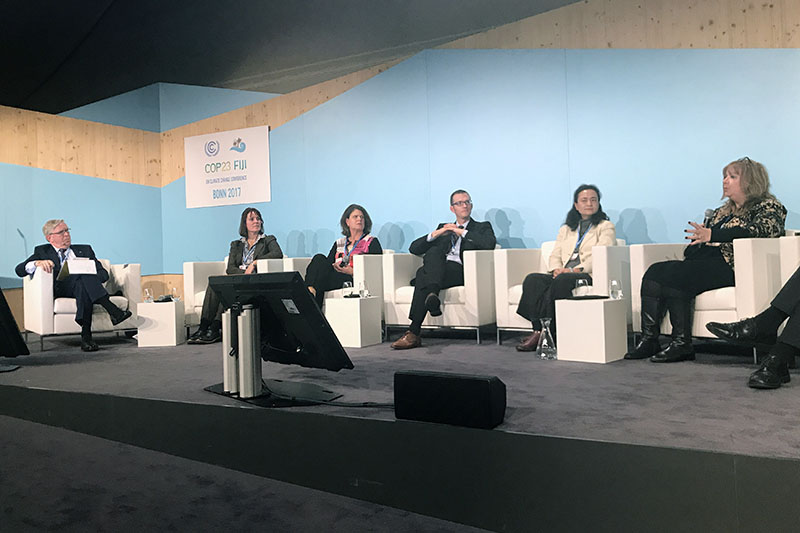At an official COP23 event, GFEI Executive Secretary Sheila Watson announced ambitious new targets for HDV fuel efficiency.